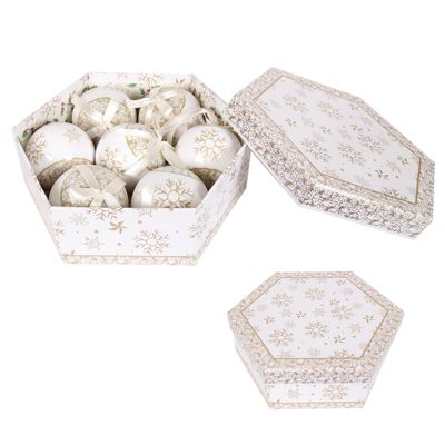 Straits Christmas 7 Piece Gift Box Baubles, Gold