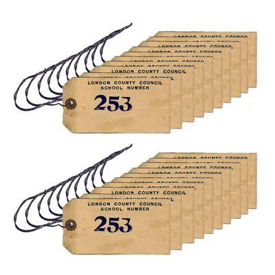 20 x WW2 Replica Evacuation Evacuee Tag - Teaching Aids or Props