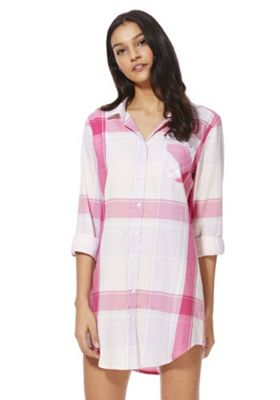 F&F Checked Woven Nightshirt Multi Pink 6