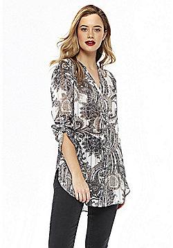 Wallis Paisley Print Shirt - Stone