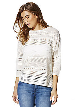 F&F Pointelle Knit Jumper - Cream
