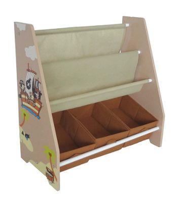 Kiddi Style Childrens Pirate Themed Wooden Sling Bookshelf and Storage - Brown