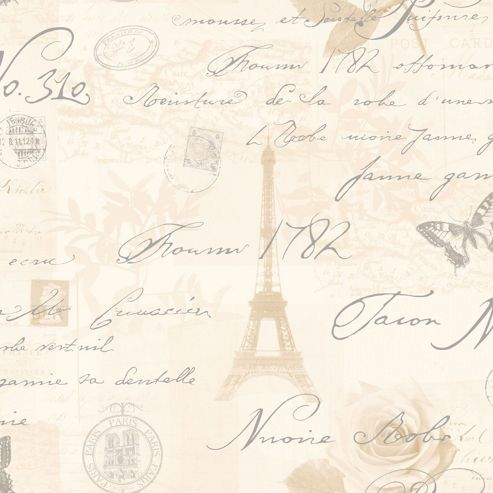 Calligraphy Paris Postcard Wallpaper - Neutral - 97750