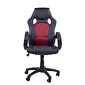 Homcom Racing Swivel Office Chair PU Leather Chairs Adjustable-Black/Red