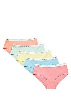 F&F 5 Pack of Polka Dot Waistband Shorts - Multi