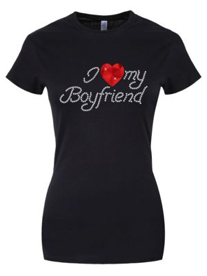 I Love My Boyfriend Women's T-shirt, Black