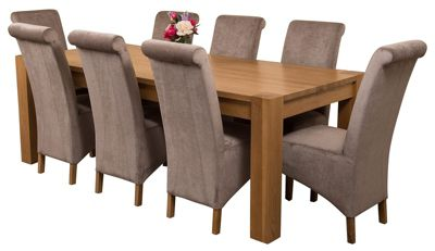 Kuba Chunky 220cm Kitchen Solid Oak Dining Set Table + 8 Grey Fabric Chairs