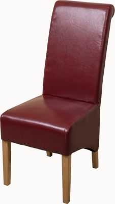 x10 Montana Scroll Back Red Leather Dining Chairs