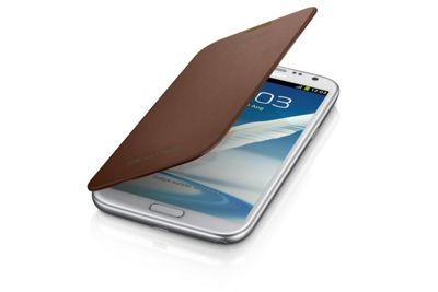 Samsung Original Clip-On-Replacement Battery Cover with Leather Feel Flip Case Galaxy Note 2 - Brown