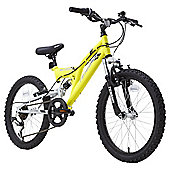 "Terrain 20"" Wheel Full Suspension Yellow Kids Mountain Bike"