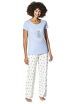 F&F Slothy Coffee Slogan Pyjamas - Lilac & Cream