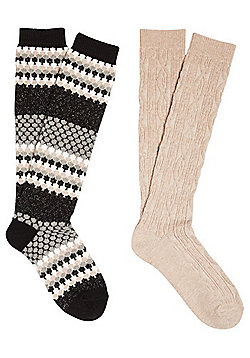F&F 2 Pair Pack of Honeycomb and Cable Knit Knee High Thermal Socks - Multi