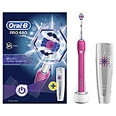 Oral-B Pro 680 3D White Pink Electric Rechargeable Toothbrush with Travel Case