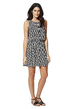 F&F Ikat Print Tie Neck Beach Dress - Black & White