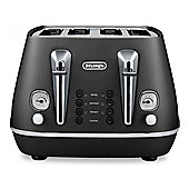 Delonghi CTI4003 4-Slice Toaster, 1800w Power, Reheat Function in Black