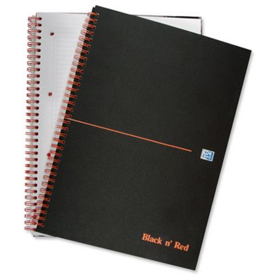 Oxford Black n Red A4+ Matt Wirebound Notebook Ruled Feint 846354905 (5 Pack)