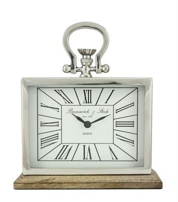 Nickel And Wood Rectangular Table Clock