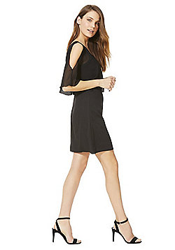 Mela London Chiffon Cape Overlay Dress - Black