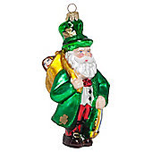 Irish Father Christmas Mouth-Blown Glass Tree Bauble Decoration