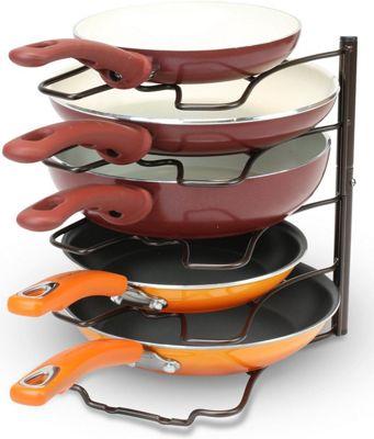 5 Tier Kitchen Saucepan Frying Pan Stand Holder Organiser Storage Rack Shelf