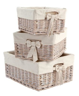 Mamas & Papas - Storage Baskets- Set of 3 in White Wash