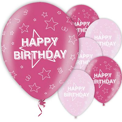 Happy Birthday Pink 11 inch Latex Balloons - 25 Pack