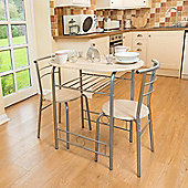 Christow 3 Piece Breakfast Dining Set Silver