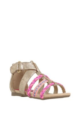 F&F Neon Trim Strappy Sandals 04 Child Gold