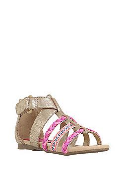 F&F Neon Trim Strappy Sandals - Gold