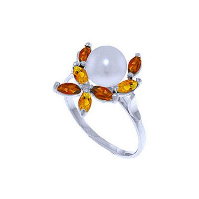QP Jewellers Garnet, Citrine & Pearl Ivy Ring in 14K White Gold - Size A 1/2