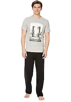 F&F New York Print Loungewear Set - Grey & Black
