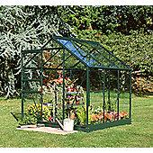 Halls Popular 6x6 Greenframe Greenhouse + Green Base-frame - Toughened Glass