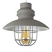 MiniSun Penglai Caged Fisherman's LED Ceiling Pendant Light Shade - Cement - ES E27