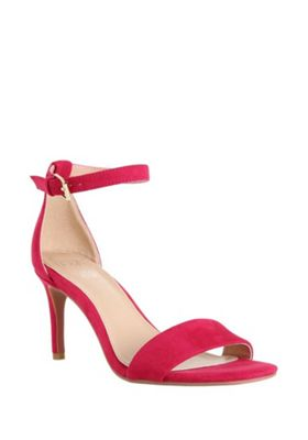 F&F Faux Suede Heeled Sandals Pink Adult 5