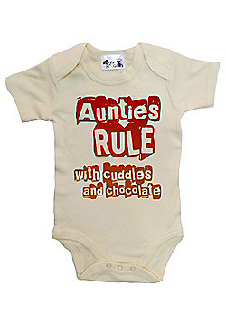 Dirty Fingers Aunties Rule Cuddles and Chocolate Baby Bodysuit - Cream