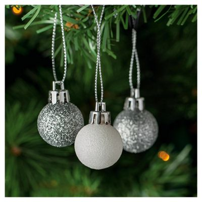 Tesco Silver & White Baubles, 24 Pack
