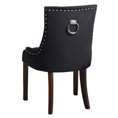 Lovely Torino Dining Chair With Back Ring   Black Velvet   Legs In Walnut Finish