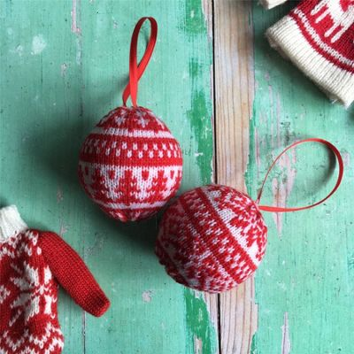 Set of Two Knitted Christmas Baubles