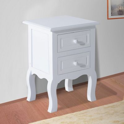 Homcom Wooden Bedside Table Night Stand Bedroom Storage Cabinet 2 Drawer Chest White