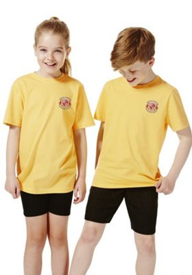 Unisex Embroidered School T-Shirt 8-9 years Yellow