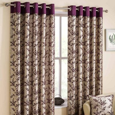 Homescapes Contemporary Mulberry Faux Silk Curtain Pair Floral Flock Design 90x54