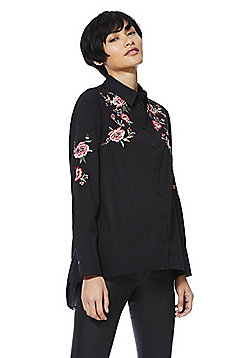 F&F Floral Embroidered Swing Shirt - Black