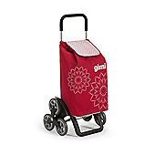 Gimi Tris 56 Litre, 6 Wheel Shopping Trolley, Floral Red