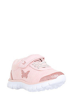 F&F My First Shoes Butterfly Print Riptape Trainers - Pink
