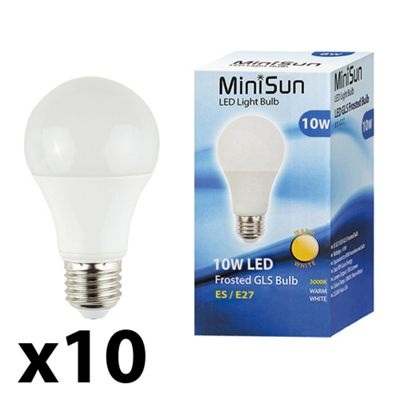 Pack of 10 Minisun ES E27 10W LED SMD GLS Bulbs in Warm White