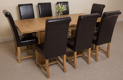 Seattle Solid Oak Extending 150 - 210 cm Dining Table with 8 Brown Washington Leather Chairs