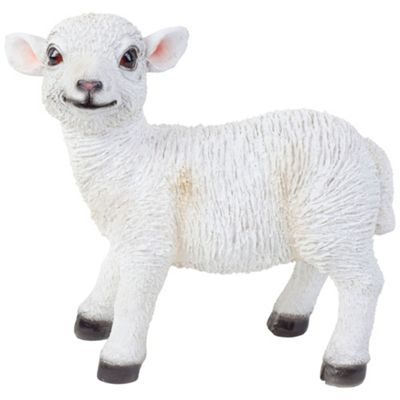 Realistic 27cm Standing White Lamb Sheep Animal Garden Ornament