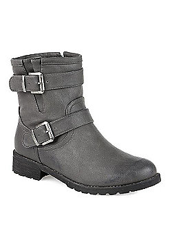 Pavers Ankle Boot with Buckles Black - 2 - Grey