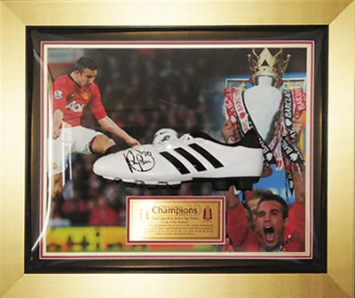 Signed Robin Van Persie Framed Adidas Football Boot - Manchester Utd - COA