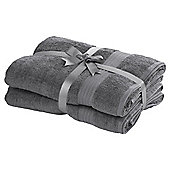 TESCO HYGRO COTTON 2 PACK BATH SHEET GREY